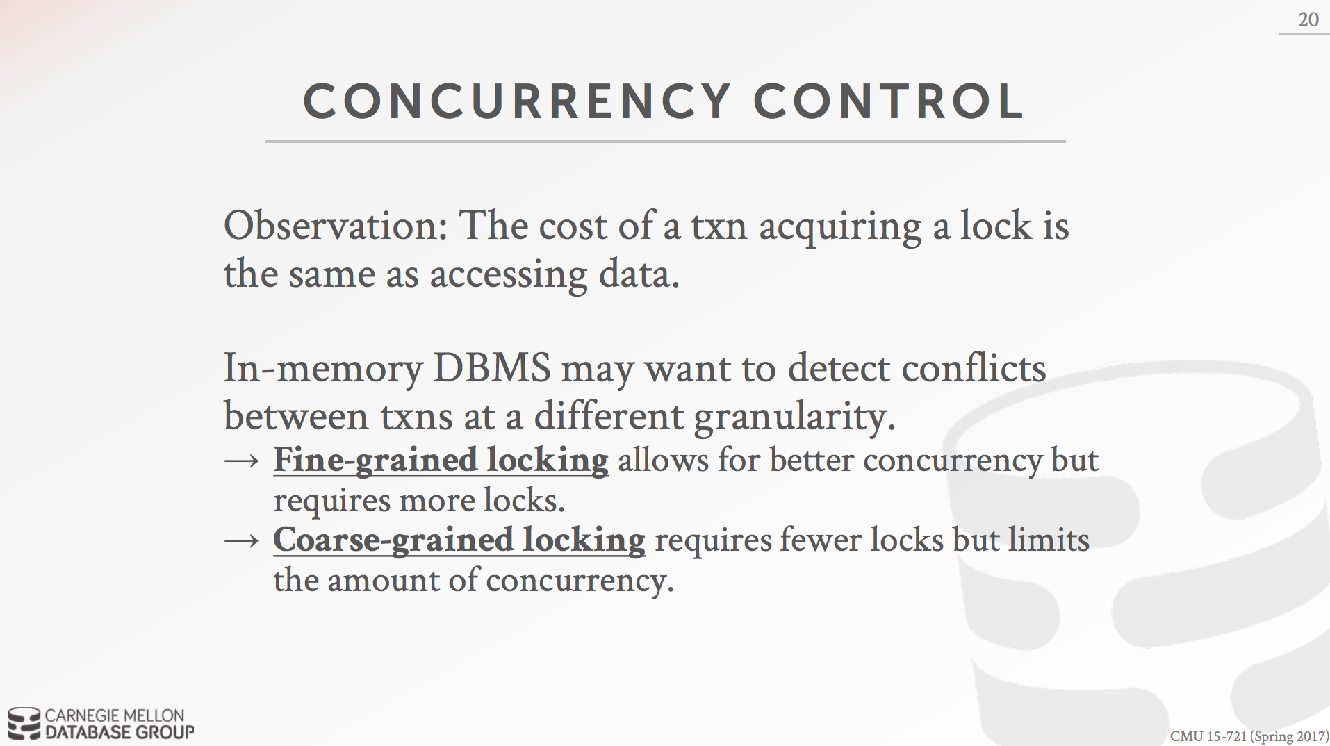 In-Memory DBMS Concurrency