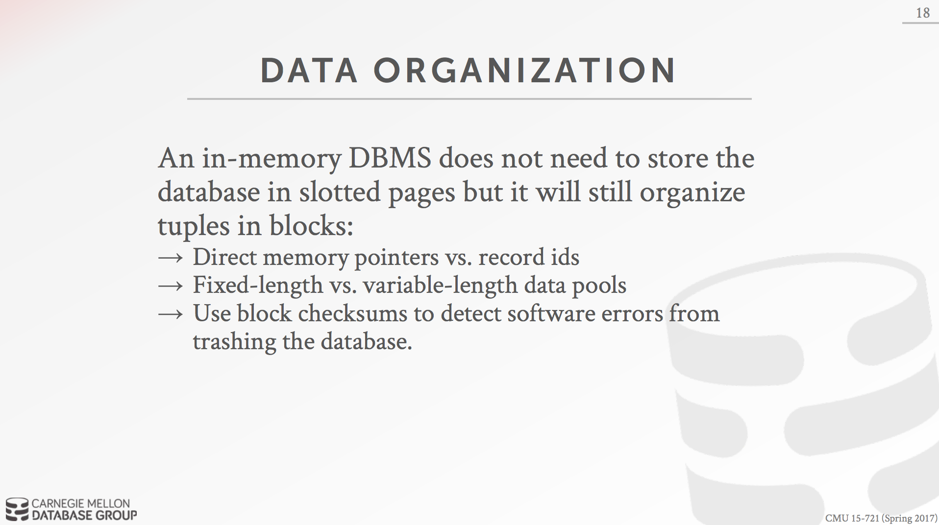 In-Memory DBMS Organization